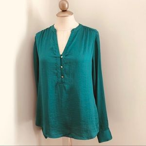 The limited silky emerald green dressy blouse